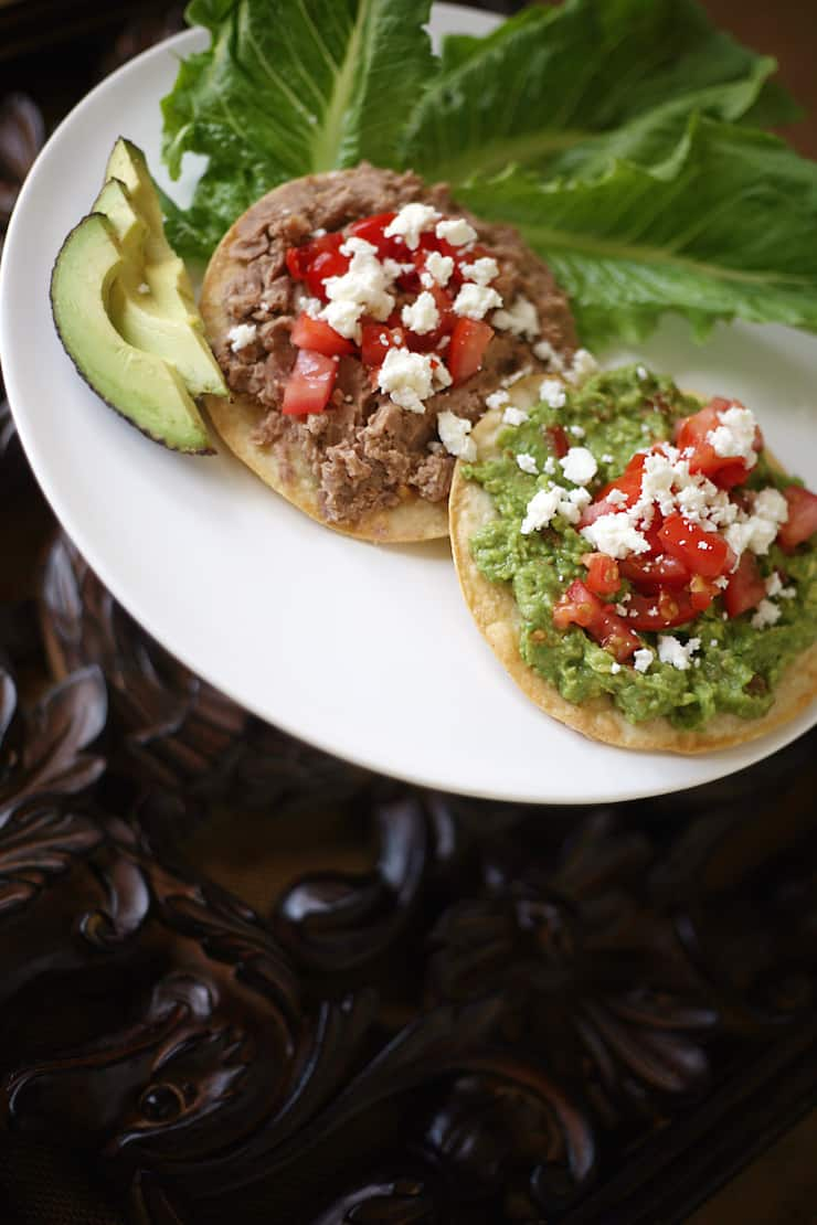 Refried Bean and Guacamole Tostadas