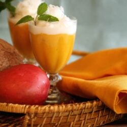Mango Coconut Sorbet in a beautiful composition