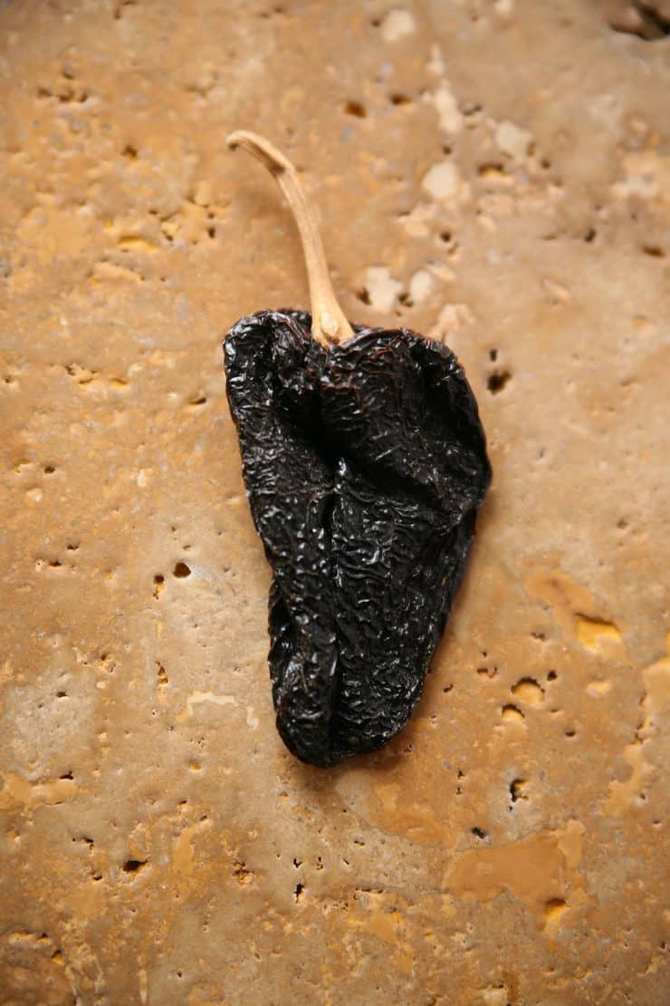 ancho dried chile pod pepper to make chicken tortilla soup