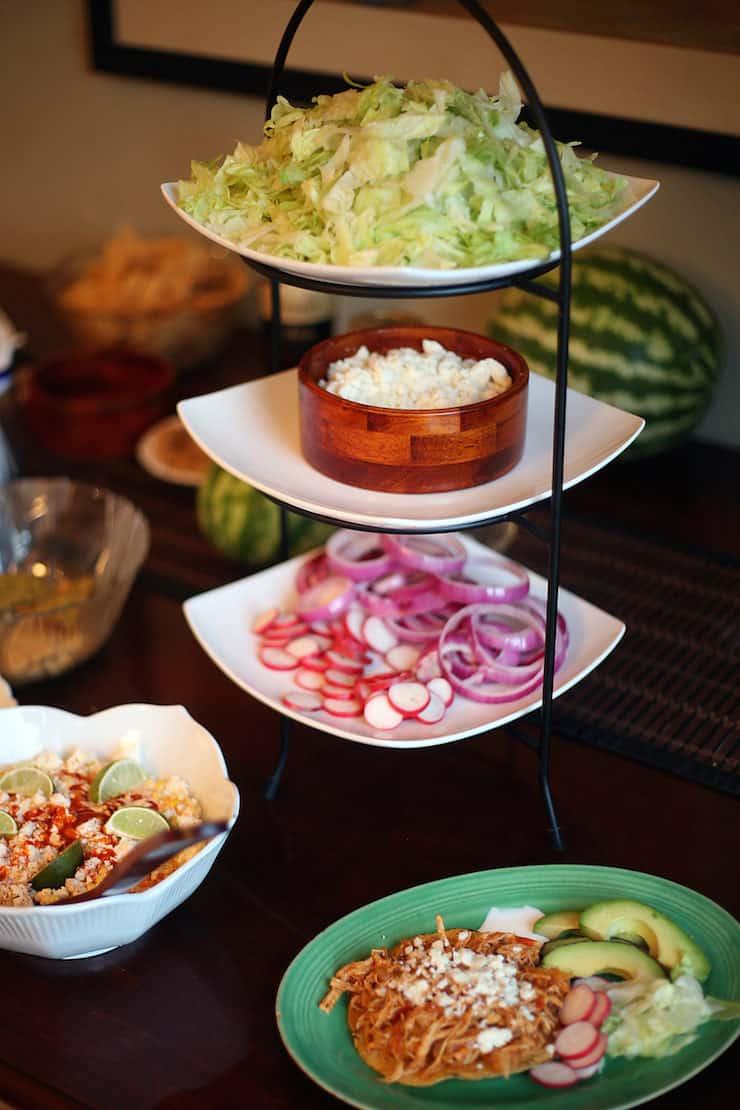 buffet spread for chicken Tinga tostadas