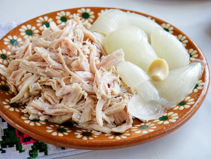 Mexican platter filled with shredded chicken and boiled onions