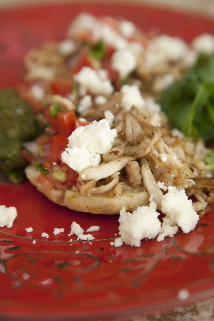 Arepas topped them with shredded turkey, pico de gallo, and queso fresco.