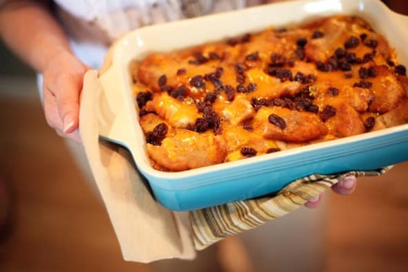 capirotada Mexican bread pudding dessert for lent