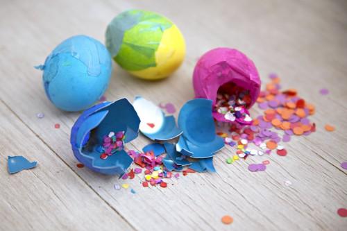 cascarones confetti eggs broken with confetti spilling out