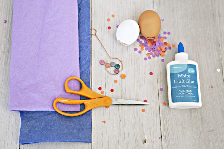 supplies to make cascarones scissors tissue paper and glue