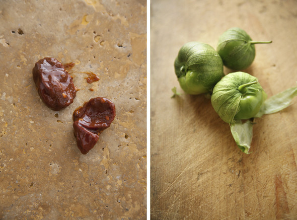 ... left smoky chipotle salsa with pan roasted tomatillos salsa roasted