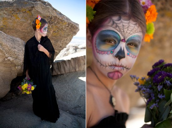young girl wearing day of the dead makeup Catrina dia de muertos