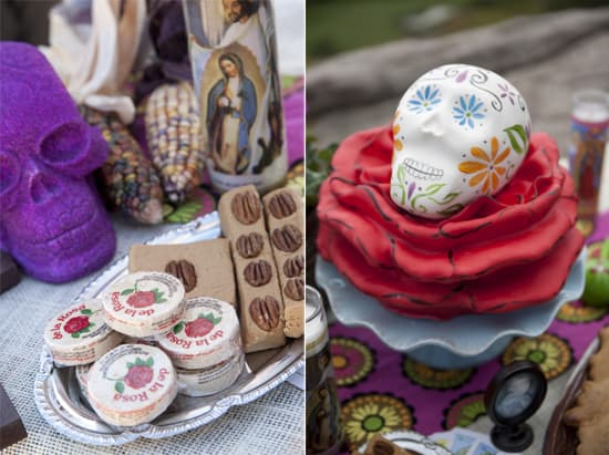 Mexican candy and veladora sugar skull cake on altar