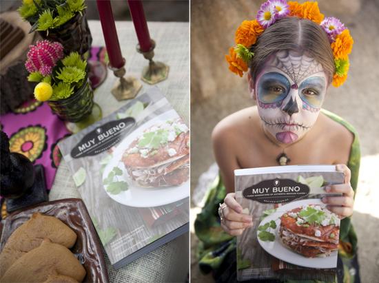 girl dia de Los Muertos holding Muy bueno published cookbook