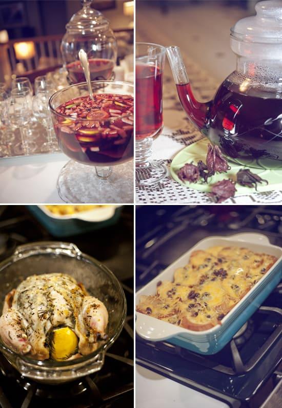 Sangria-agua_de_jamaica-roasted_chicken-capirotada