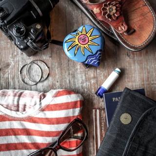 sandals-camera-sunglasses-striped-shirt