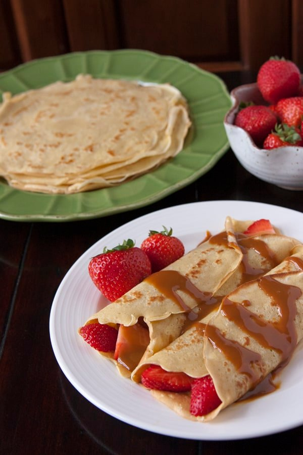 ... » Strawberry-Filled Crepes Drizzled with Boozy Dulce de Leche