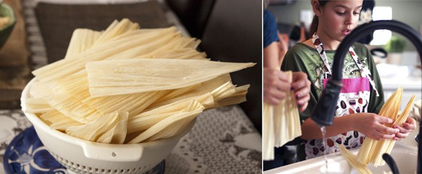 rinsing corn husks