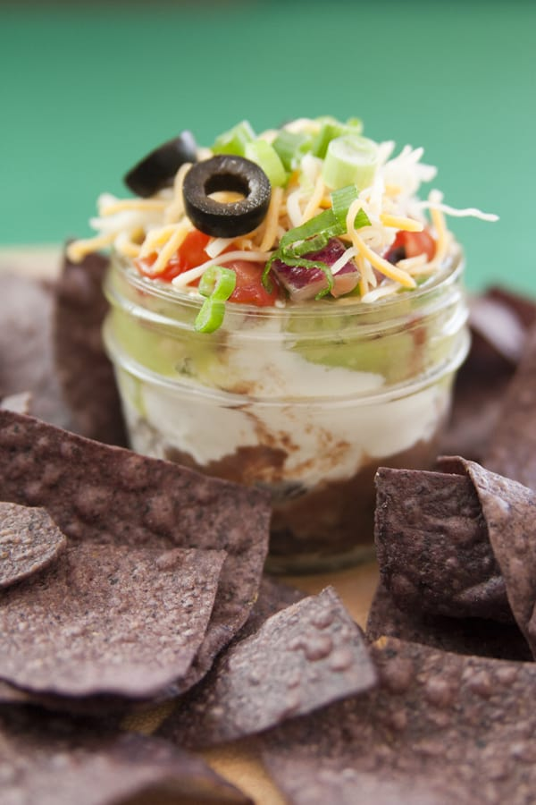 seven layer dip mason jar