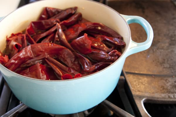 simmering red chile