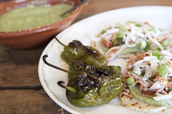 chicken arepas and padron peppers