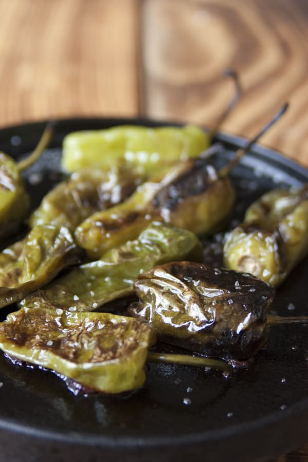 chiles toreados padron peppers with sea salt