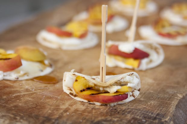 Mini Tortillas Ricotta Cheese Grilled Peaches