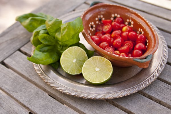lime tomatoes basil