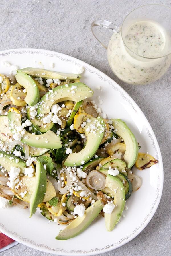 squash feta salad