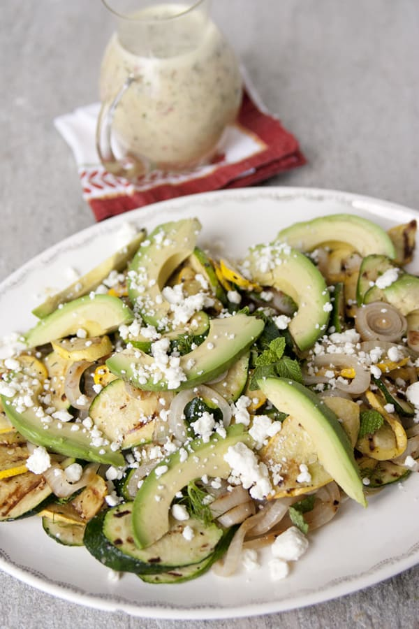 Grilled Summer Squash, Avocado, and Feta Salad with White Vinaigrette ...