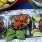 grilled avocados filled with quinoa salad