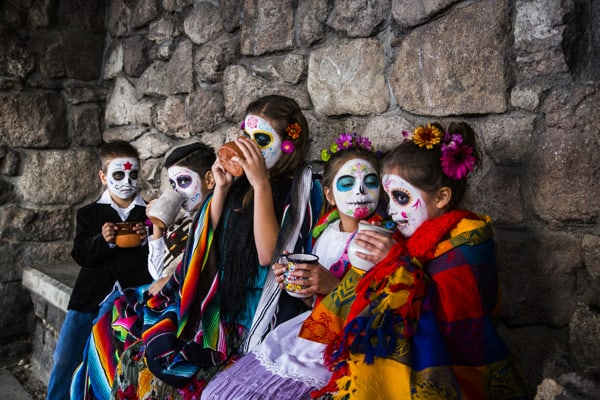 Mexican hot chocolate day of the dead
