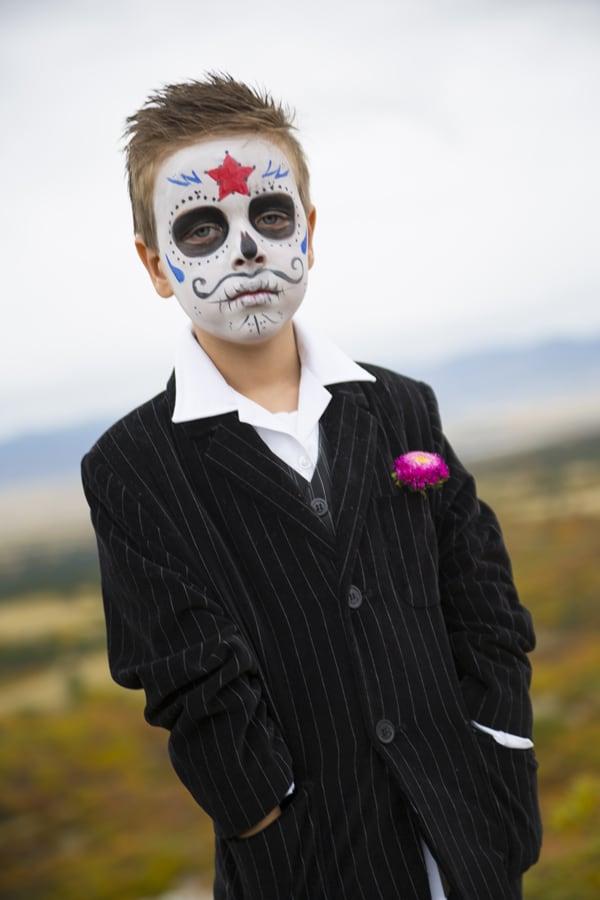 boy catrina day of the dead sugar skull