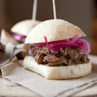 Barbeque Pulled Pork Sliders with Pickled Red Onions