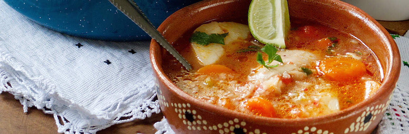 close up shot of plated caldo de pollo