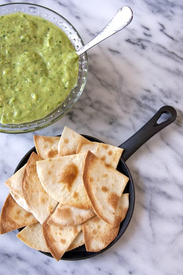 ... Avocado and Tomatillo Green Chile Salsa + Baked Flour Tortilla Chips