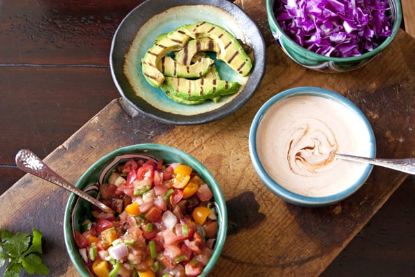 taco toppings grilled avocado slices
