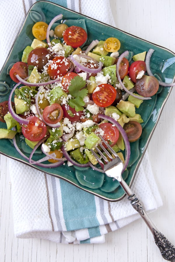 Avocado and Tomato Salad with Feta Cheese