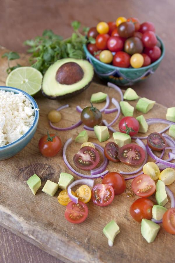 Avocado and Tomato Salad with Feta Cheese