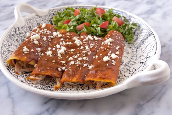chicken mole enchiladas made with dona Maria on a platter