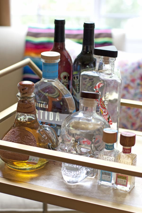 tequila mexican bar cart