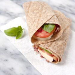 school lunch - Caprese Salad and Prosciutto Wrap