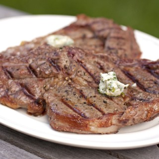 Rib-Eye Steak with Cilantro Lemon Butter