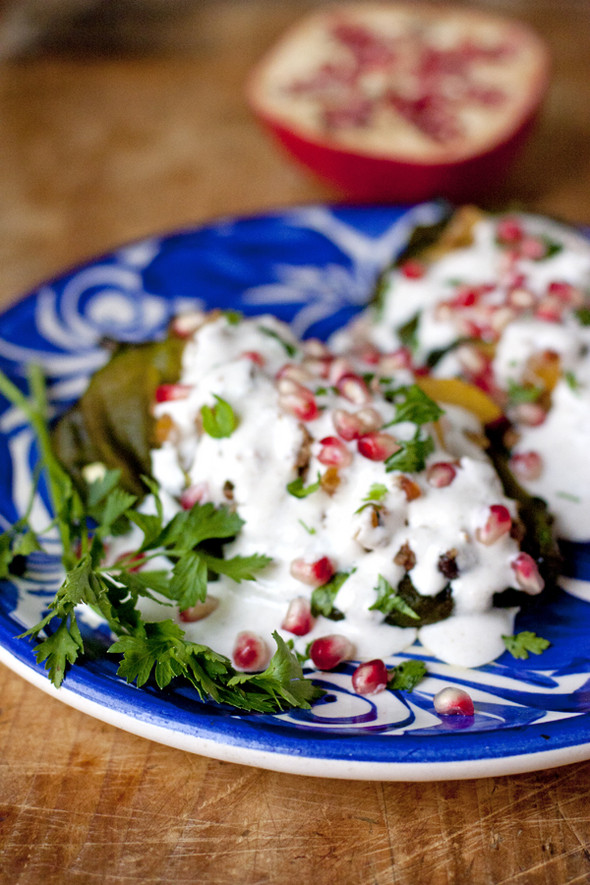 Chiles en Nogada (Stuffed Poblano Chiles with Walnut Sauce) - Muy ...