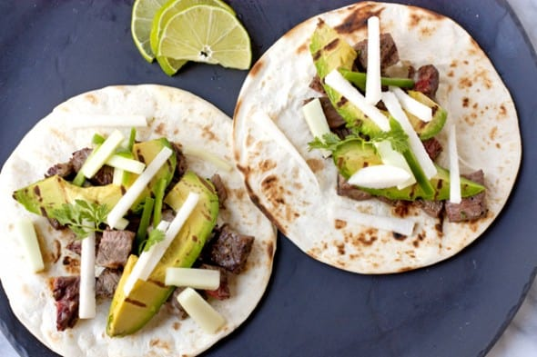 Steak Tacos with Cucumber-Jicama Salsa