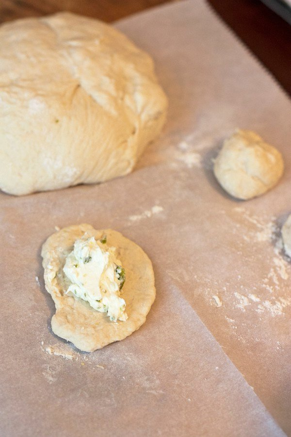 bolillo dough filled with cream cheese
