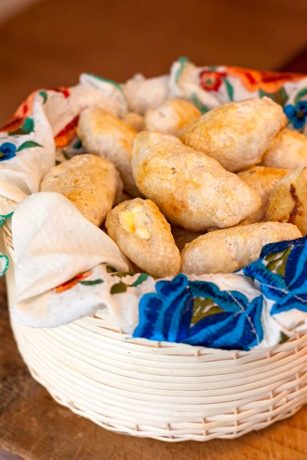 bolillos Mexican rolls filled with cream cheese
