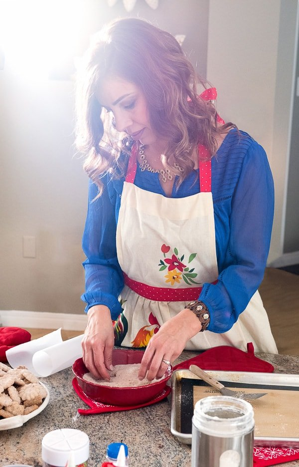 food blogger Yvette Marquez Sharpnack making Biscochos Mexican wedding cookies for Christmas