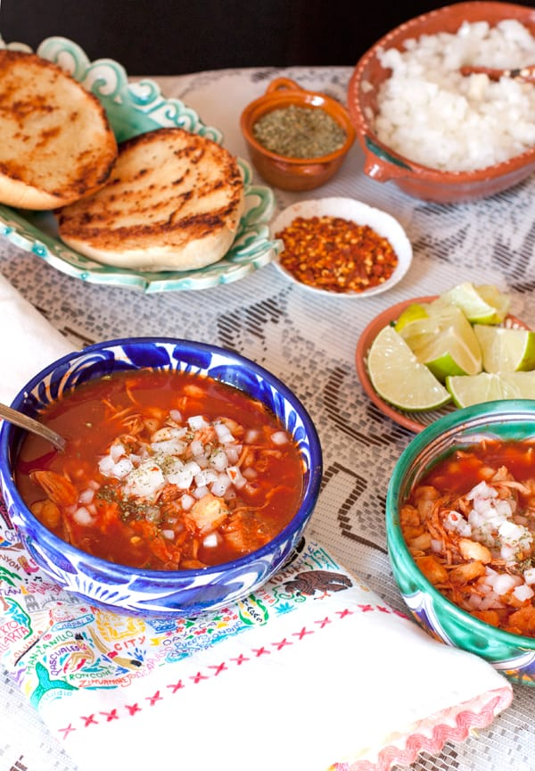 Red Pork and Hominy Stew (Pozole Rojo) and garnishes