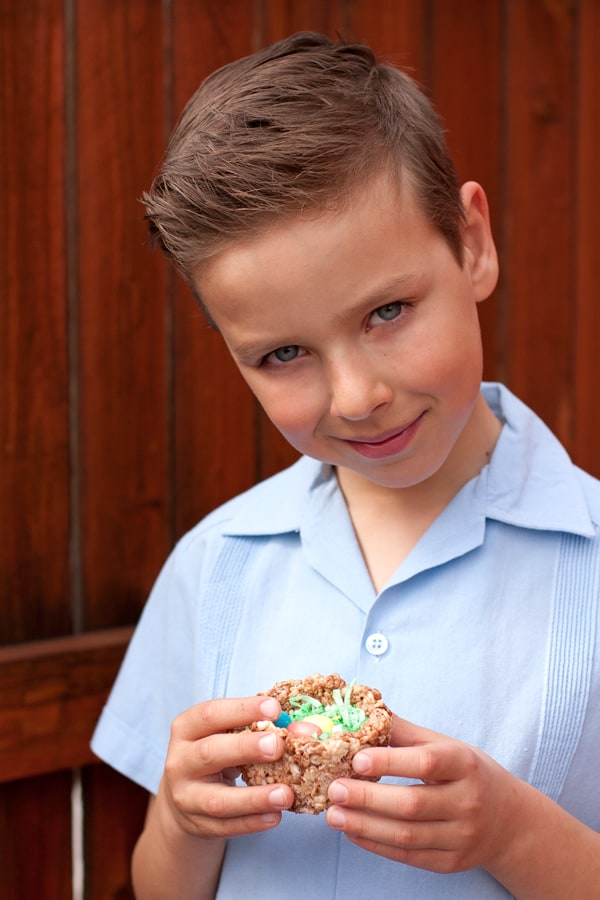 child-Easter-craft-rice-krispies-nest