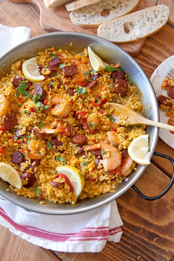 recipe for paella with shrimp and chicken