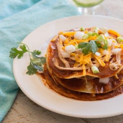 Stacked Red Enchiladas