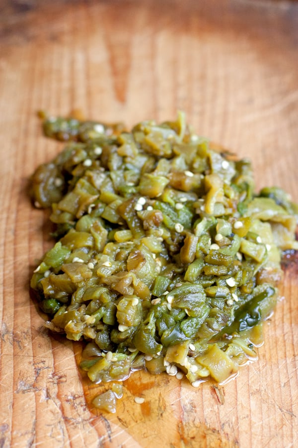 chopped roasted Hatch green Chile on a cutting board