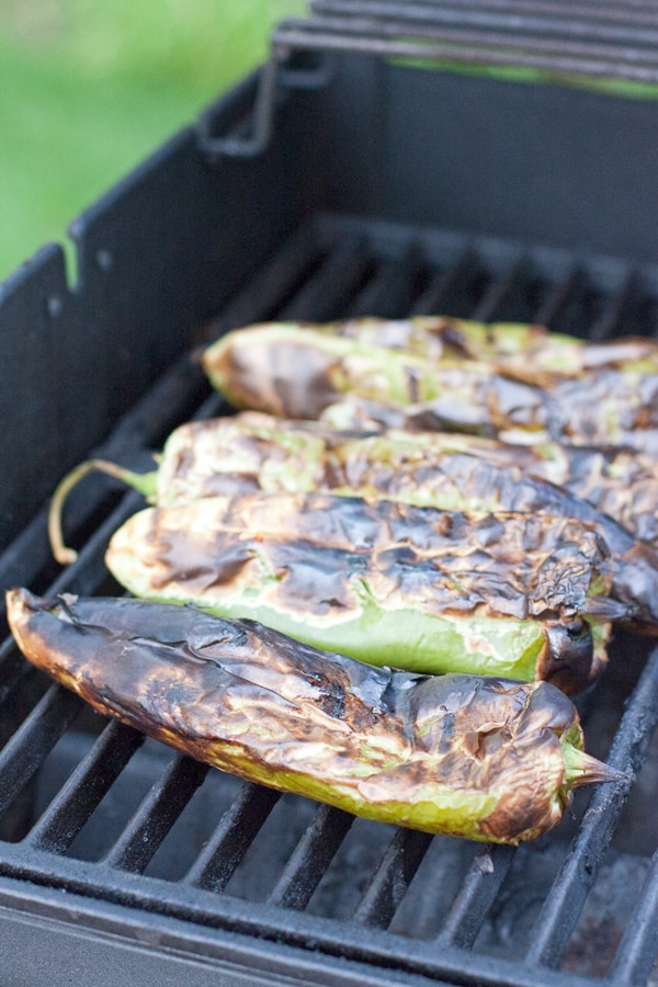 roasted hatch green Chile on a grill