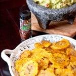 Crispy Spicy Tostones served with delicious guacamole
